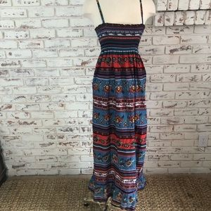forever 21 Maxi Dress Multi Color Floral Ruffle